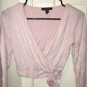 Forever 21 long sleeve cropped pink top